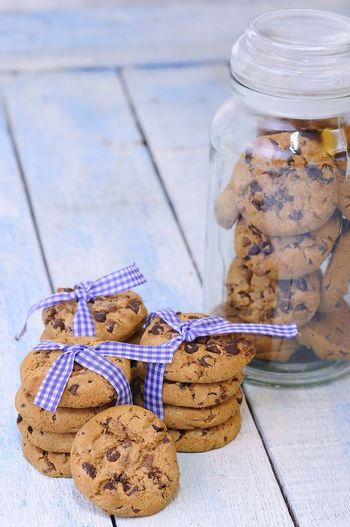 High angle view of cookies in jar on table