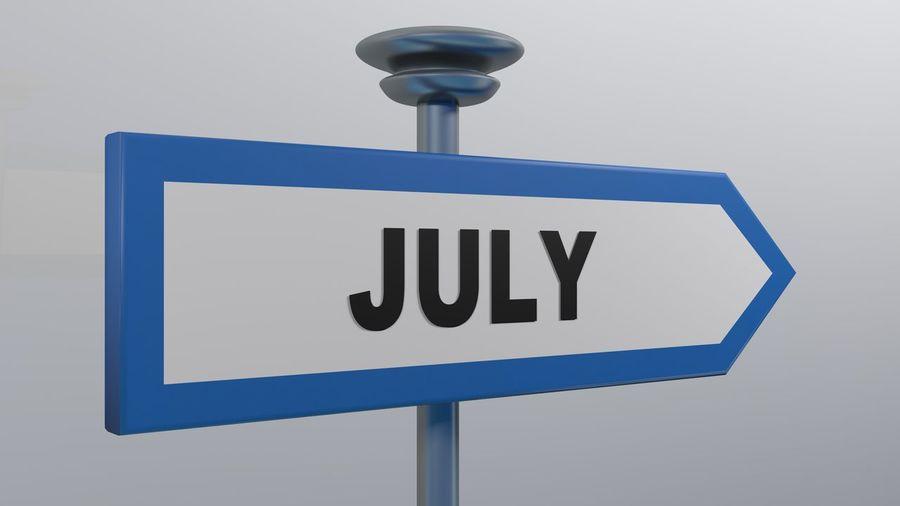 JULY blue arrow