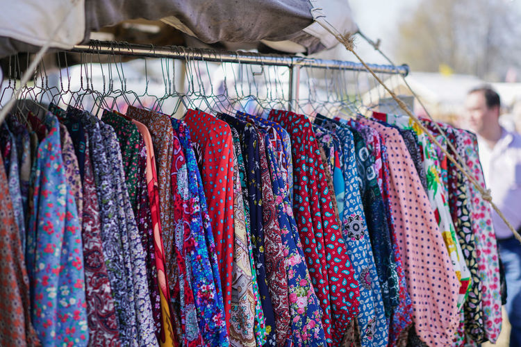 Close-up of clothes for sale at market