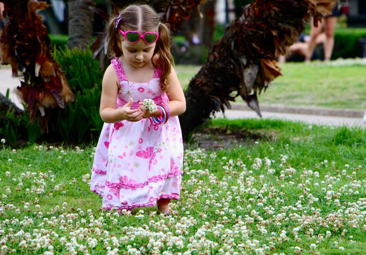 girls, one girl only, children only, child, childhood, innocence, one person, outdoors, grass, fun, flower, enjoyment, day, people, animal themes, playing, full length, real people, domestic animals, nature, tiara, adult