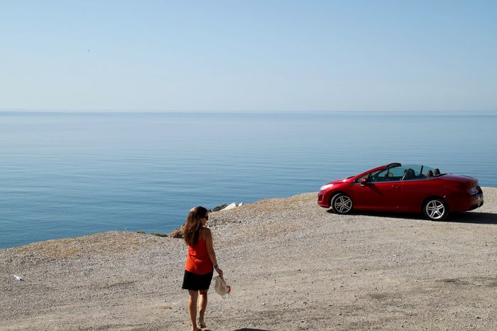 Adventure Beauty In Nature Cabrio Car Coastline Horizon Over Water Nature One Person Red Car Rhodes Roadtrip Ródos Scenics Sea Shore Travel Travel Photography Travelling Vacation Time Vacations Young Women Sommergefühle Lost In The Landscape Done That.