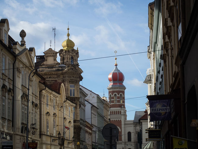 View towards the large synagogue Building Exterior Built Structure Bulb City Cityscape Colorful Dome Sightseeing Sky Synagogue Travel Destinations