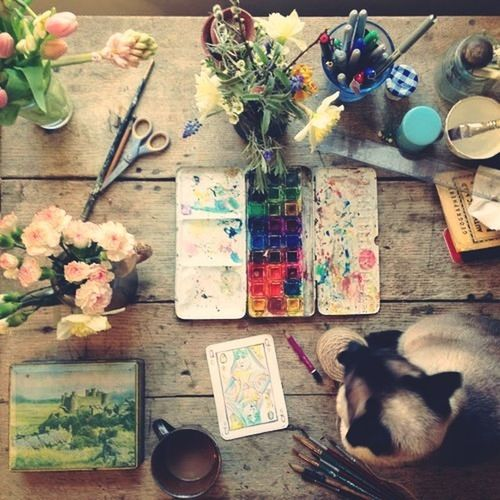 Enjoying Life Flowers Cat Painting
