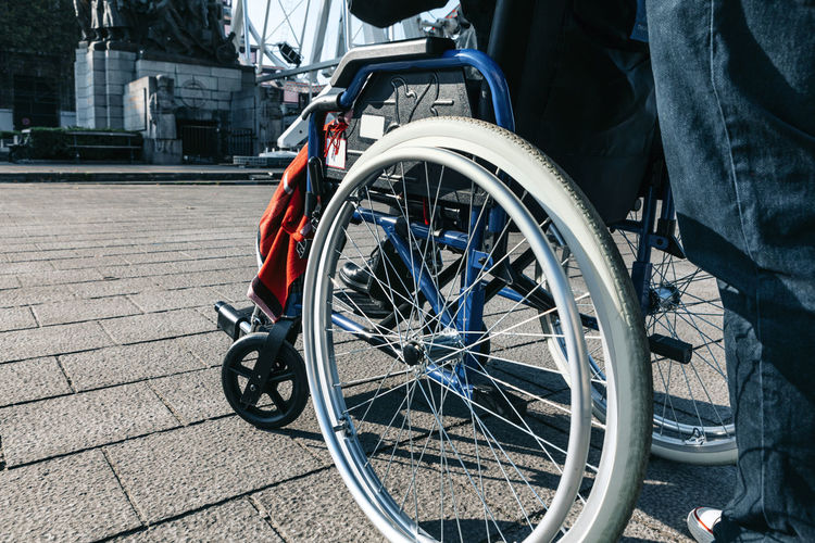 Close up of a wheelchair - urban mobility in a disability status concept