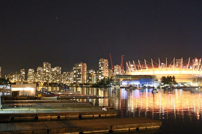 Architecture BC Place City Life Harbor Illuminated Mid Distance Nautical Vessel Night Ocean River Skyscraper Urban Skyline Vancouverisawesome Water Waterfront