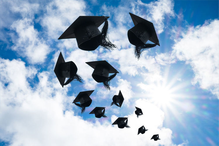 Achievement Cloud Graduation Happiness Hat Learning Master Student Background Cap Cerebration Ceremony Cheerful Commencement Congratulation Degree Education End Graduate Harmony Knowledge Sky Success Trowing University