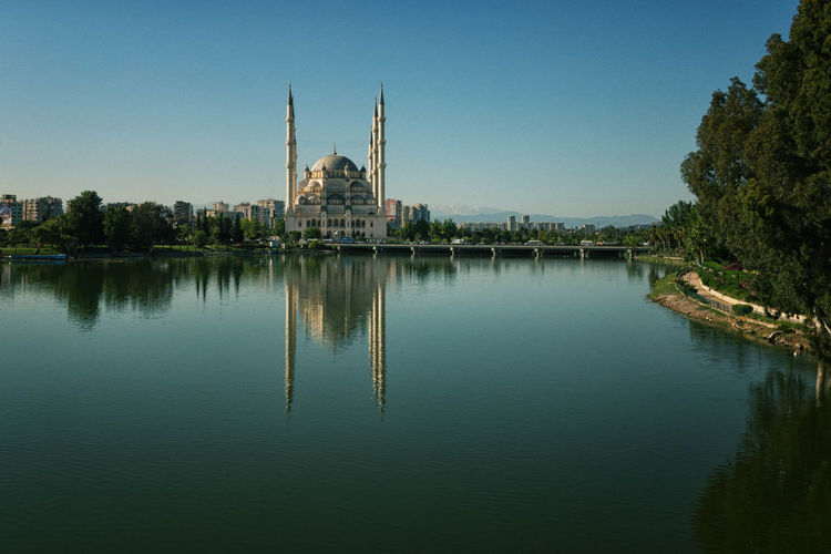 Reflection of mosque in calm water