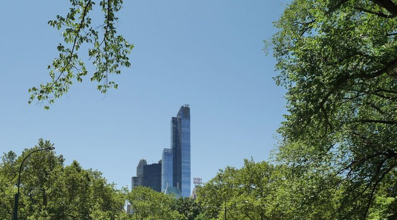 Architecture Blue Built Structure Capital Cities  Central Park City Day Green Color Growth Low Angle View Lush Foliage Modern Nature No People NYC Office Building Outdoors Sky Skyscraper Tall Tall - High Tourism Tower Travel Destinations Tree