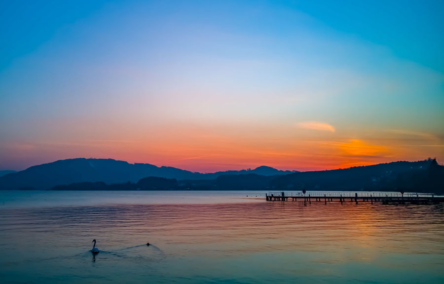 Attersee sunset Lake Attersee Nature Austria Upperaustria Graphxart Huawei Mate9 Sunset Sundown Water Mountain Clear Sky Sea Sunset Blue Summer