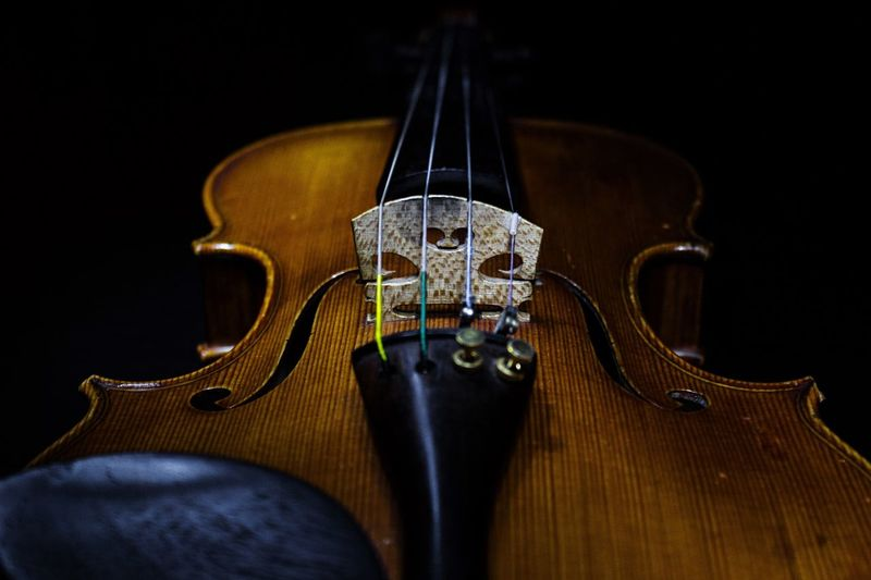 Close-Up Of Violin Against Black Background