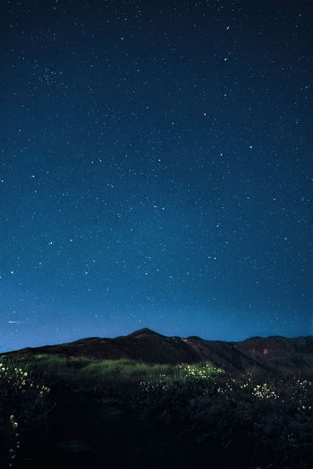 Astronomy Beauty In Nature Blue Environment Idyllic Land Landscape Mountain Nature Night No People Non-urban Scene Scenics - Nature Sky Space Star Star - Space Star Field Tranquil Scene Tranquility
