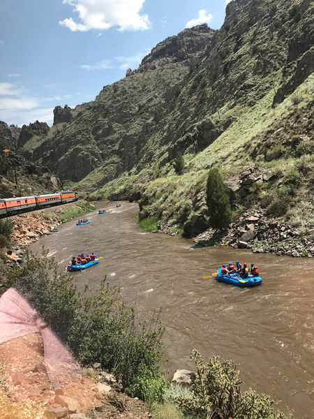Arkansas River Canon City Adventure Beauty In Nature Day Mountain Mountain Range Nature No People Outdoors Raft River Rock - Object Scenics Sky Train Tranquility Transportation Tree Water Whitewater Rafting Been There.