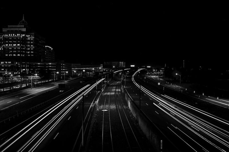 Car Trails City City Life Diminishing Perspective Elevated View Illuminated Light Trail Long Exposure Motion Night No People Outdoors The Way Forward Vanishing Point Cities At Night