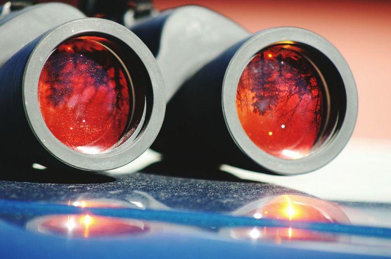 Close-Up Of Binoculars On Table