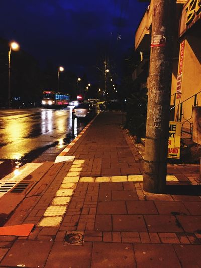 After Rain 6:28 AM Illuminated Road Sky The Way Forward No People Built Structure Sidewalk Night City Life