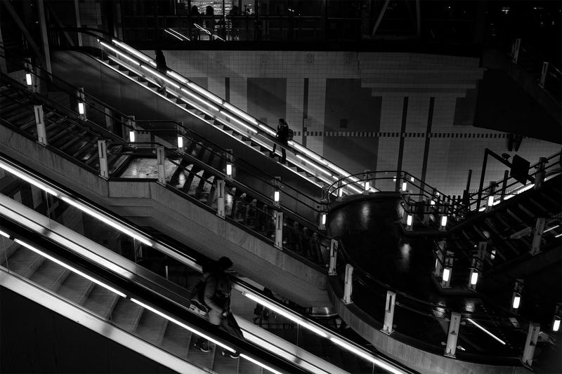 Architecture Blackandwhite Built Structure Escalator Night People Staircase Steps And Staircases Street Urban Geometry