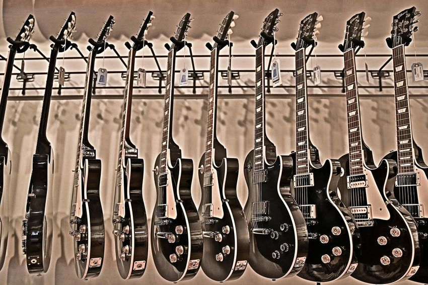 Electric Guitar Group Of Objects Guitar In A Row Large Group Of Objects Side By Side