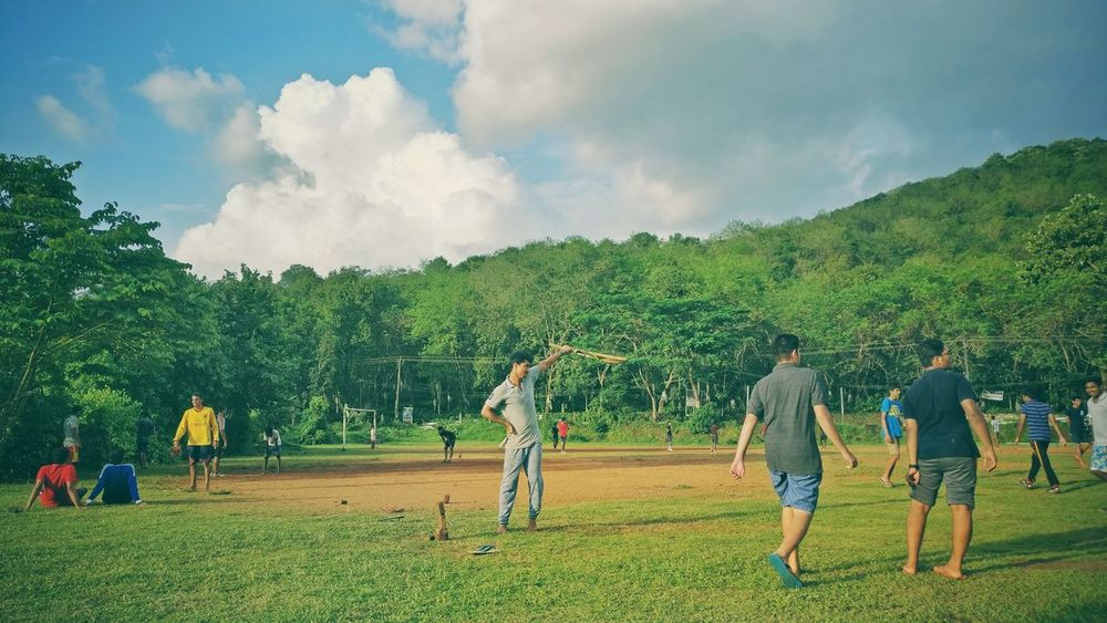 The Color Of Sport College Play Time Cricket Field Togetherness Tree Leisure Activity Sky Cloud Relaxation Sports