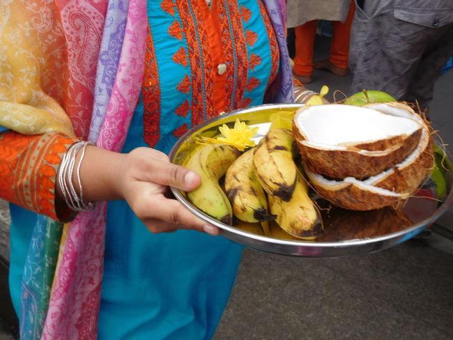 Cavadee Bananas Bowl Cocoa Human Hand Offering Saree Women