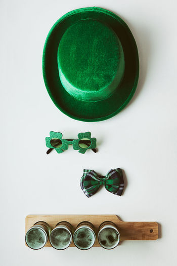 Image series for St. Patrick's Day with a filtered look. Beer Beer Flight Copy Space Glasses Green Green Beer For St Patrick's Day Hat Holiday Saint Patrick's Day Shamrock St. Patrick's Day St. Patricks Day Directly Above Green Beer Green Color High Angle View Irish No People Overhead White Background