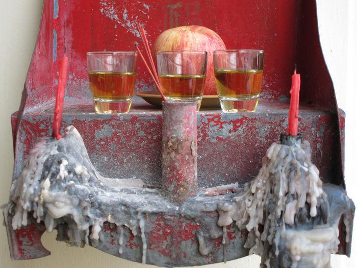 Apple juice by apple in crib