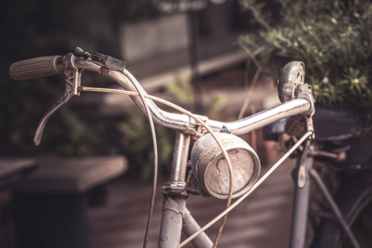 Close-up of old bicycle