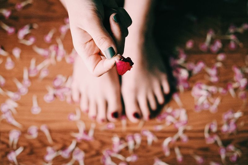 Flower Art Real People Indoors  Human Hand Lifestyles Human Body Part Nail Polish Women Low Section One Person Close-up Fingernail Manicure Painting Fingernails Day Adult People