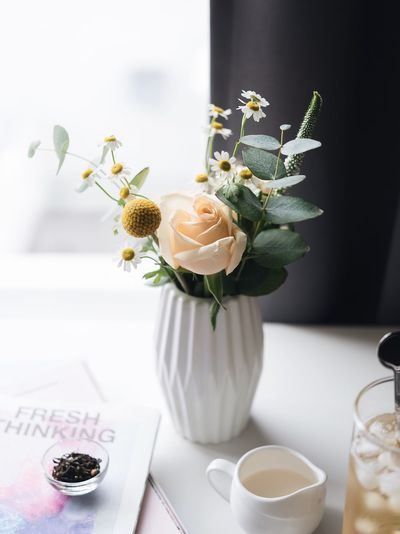 Flowers Plant Vase Table Flowering Plant Flower Freshness Indoors  Food And Drink No People Glass Refreshment Still Life Home Interior Potted Plant Drink Nature Close-up Flower Head Food Cup