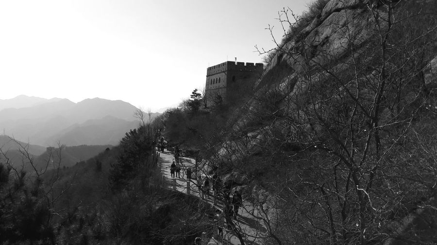 Built Structure Architecture Sky Nature Mountain Outdoors Scenics - Nature Clear Sky History Land Day Tree Great Wall Of China China Building Exterior Mountain Range Plant Beauty In Nature Blackandwhite Photography Beauty In Nature Beautiful It's About The Journey