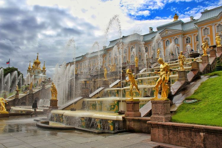 Peterhof - summer palace of Peter the Great. Palace Gold City Sky Architecture Building Exterior Cloud - Sky Built Structure Statue