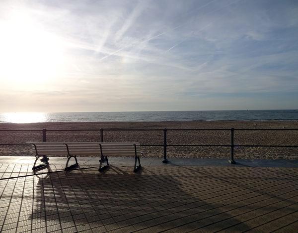 Vacation in Belgium Belgium Bench Sun Going Down Beauty In Nature Belgien Horizon Over Water Nature Ostende Sea Sky Water