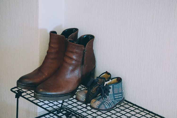 High angle view of shoes on table at home
