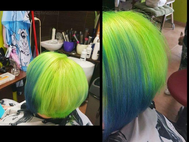 Manicpanic Hairdye Hair Newhaircolor Hairstyle Haircut Shorthair Neongreen BlueHair Coloredhair Haircolor Picoftheday Photooftheday Like4like Today's Hot Look Me ThatsMe Alternativegirl Metalhead Green Color Girl Woman Hairdresser Selfie ✌ Tattooed Girl