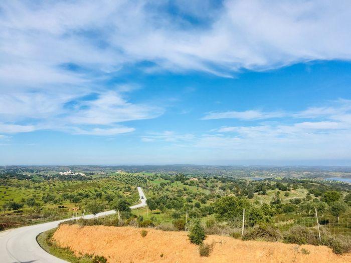 Alqueva landscape, Alentejo region Alqueva Road Alentejo,Portugal Portugal Sky Cloud - Sky Plant Beauty In Nature Landscape Environment Scenics - Nature Tree Nature Tranquil Scene Tranquility No People Field Outdoors