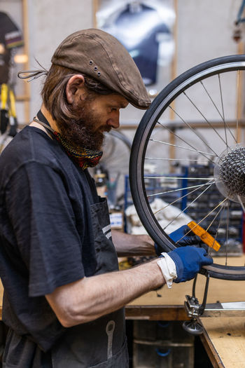 Man working on bicycle