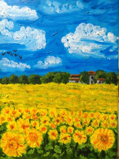 tuscany landscape (italy) my paint Flower Growth Beauty In Nature Nature Agriculture Rural Scene Blue Fragility Sky Field No People Day Scenics Freshness Close-up Outdoors Plant Cloud - Sky Sunflower Tree