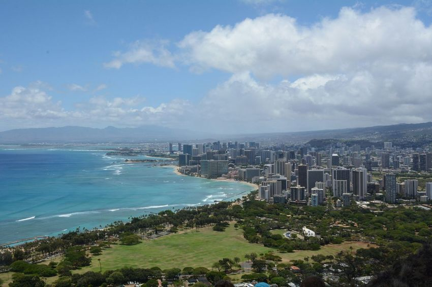 """The amazing view on Honolulu, after a great hike on """"Diamond head"""", in Hawaii. It is definitely worth to go up there! Diamondhead Hawaii Oahu Hike Great View Sunny Day Hot Weather Vacation Professionalphotography Battle Of The Cities America Vacation Time Eyeemgallery Summertime How Do We Build The World? A Bird's Eye View Eye4photography  Lovely Weather Hello World Blue Wave Blue Sky Travel Finding New Frontiers Miles Away Been There. Colour Your Horizn"""
