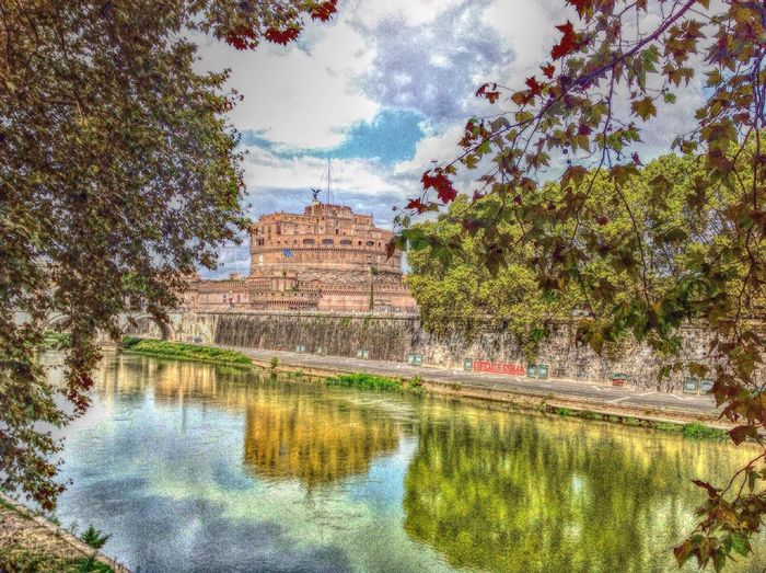 Castle Sant'Angelo in Rome. Amazing Architecture River Green Cityscapes Historical Building Italy Castle Veiw Tourists Travel