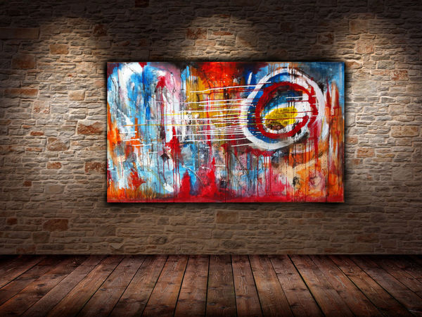 My art work Slasky | Transitions Mixed media 124x72 Abstract Art Contemporary Art Colors