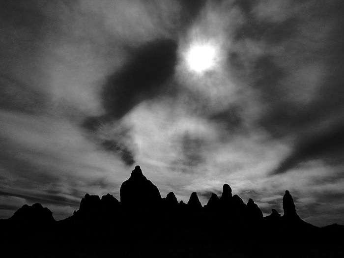 Nature Cloud - Sky Astronomy Mountain Silhouette Landscape OutdoorsDesertBlack And White No People Day Beauty In Nature Sky California Trona Pinnacles