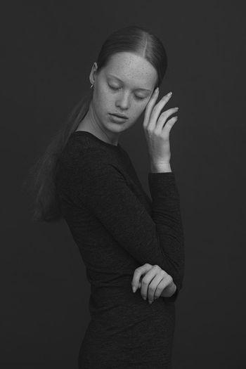 Blackandwhite Model Human Hand Warm Clothing Black Background Young Women Portrait Women Wool Beautiful Woman Beautiful People Winter