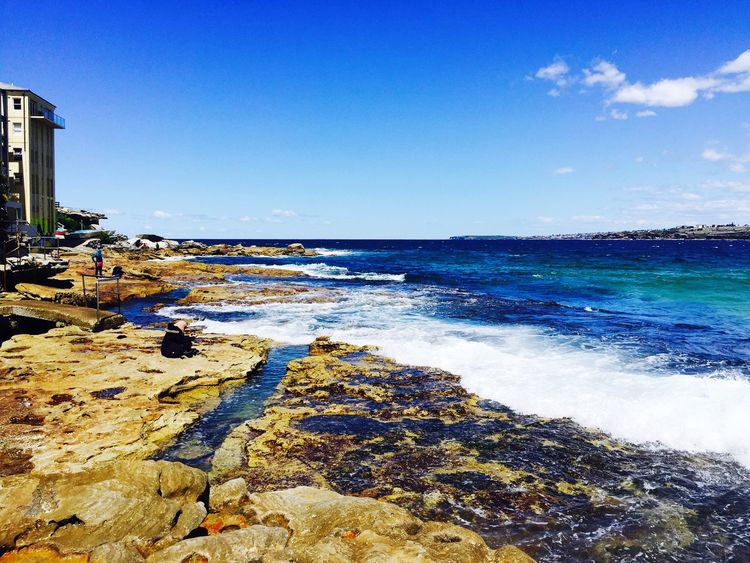 Sea Blue Water Clear Sky Horizon Over Water Scenics Beach Sunlight Beauty In Nature Nature Sky Outdoors Day Tranquility Tranquil Scene No People Wave Architecture Blue Wave IPhoneography Beauty In Nature Wave Love In Nature Bondi Beach