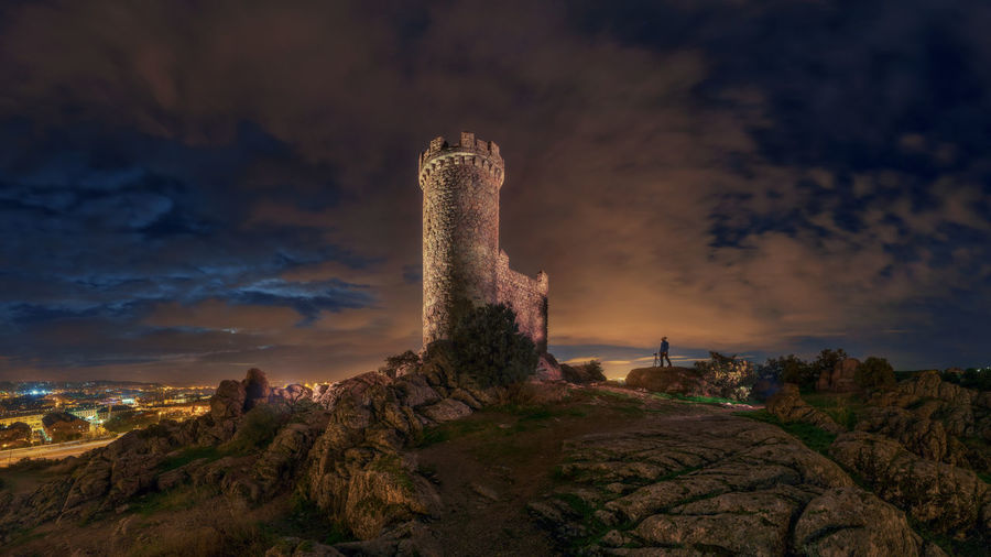 Sky Cloud - Sky Architecture Built Structure Rock Rock Formation History Travel Destinations The Past Outdoors Nightphotography Night Castle SPAIN Europe Madrid Cloudy Historical Ancient Rock - Object Environment Building Exterior