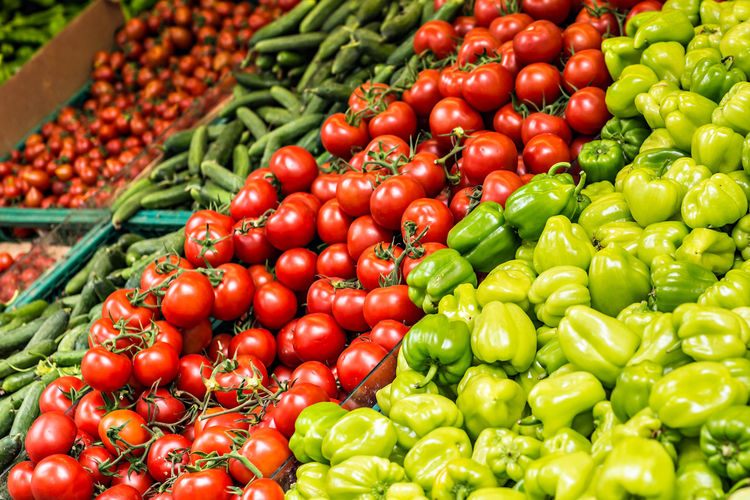 Full frame shot of tomatoes for sale in market