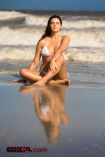 Soak it in Man. Water Beach Sea Real People Young Adult Full Length Young Women One Person Lifestyles Leisure Activity Beauty In Nature Beautiful Woman Nature Bikini Looking At Camera Outdoors Portrait Beauty Scenics Smiling