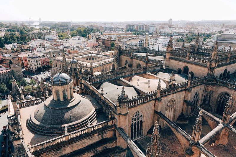 High angle view of seville cathedral in city