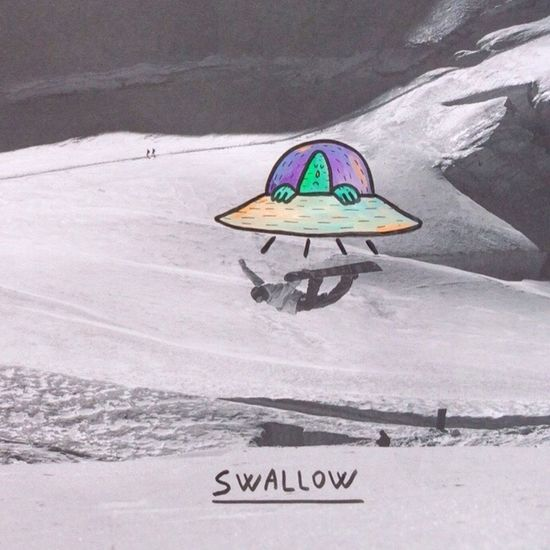 Lucas Beaufort (France) adds his hand drawn figures to Snowboarding images, this one being Nicolasmuller swallowed up by an alien type craft on the slopes of Sassfee Switzerland GoodTimes Blottophotto