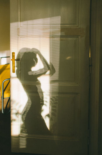Reflection of woman on door at home