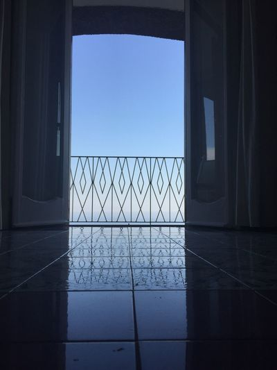 Reflection of sky on tiles