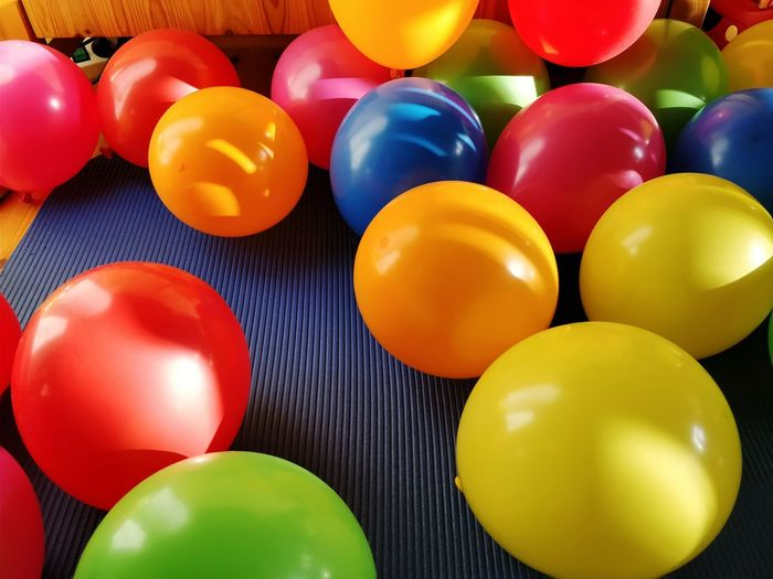 Close-up of multi colored balloons at home
